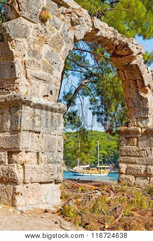 Phaselis Sea  Bush Gate  In    Asia Greece And