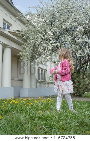 Back view portrait of little girl at classic portico and fruit tree garden in full bloom background