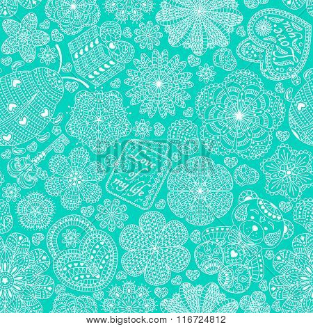 Seamless pattern with flowers, hearts, cards, bear, gift, key and ladybug.  Text Love you and Love o