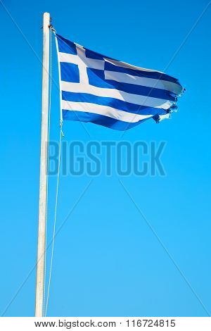 Greece Flag In The Blue Sky And Flagpole