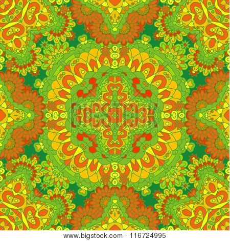 Colorful Lace Pattern With Ornate Elements. Yellow Green Abstract Background.
