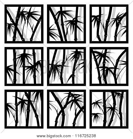 Abstract Square Icons Framed Bamboo Trees.