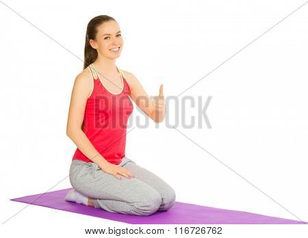Young sporty girl isolated on white