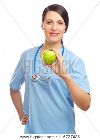 Doctor with green apple isolated