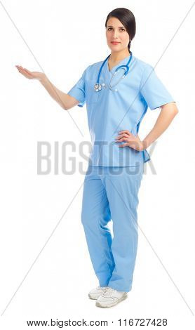 Doctor shows welcome gesture isolated
