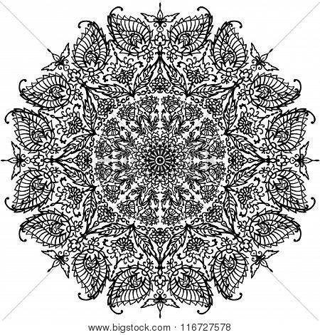 circular mandala with floral ornaments coloring contour vector illustration