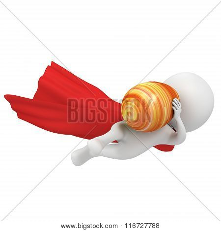 Brave Superhero With Red Cloak Fly With Easter Egg