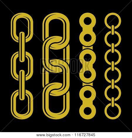 Golden chain parts icons set on white background. Vector.