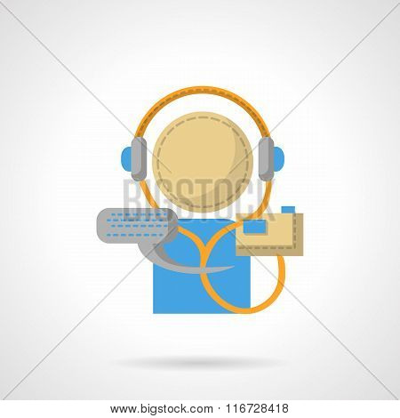 Audio lessons flat color vector icon