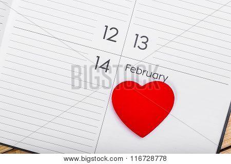 Valentines Day Theme. Heart On Calendar.