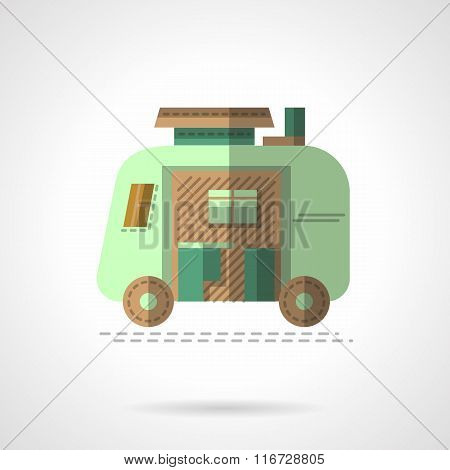 Flat color camping trailer vector icon