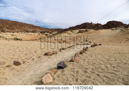 Hiking Trail Through Volcanic Landscape