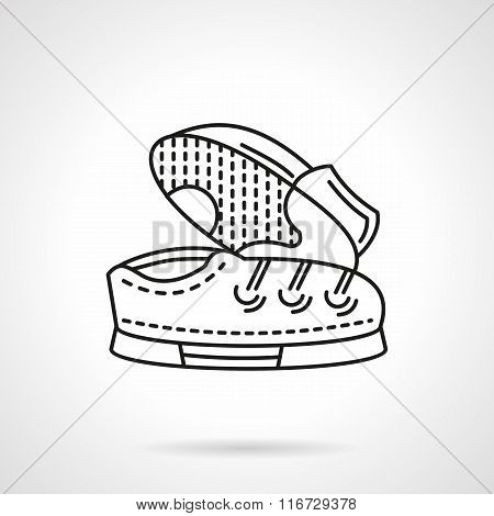 Flat line shoes pair vector icon