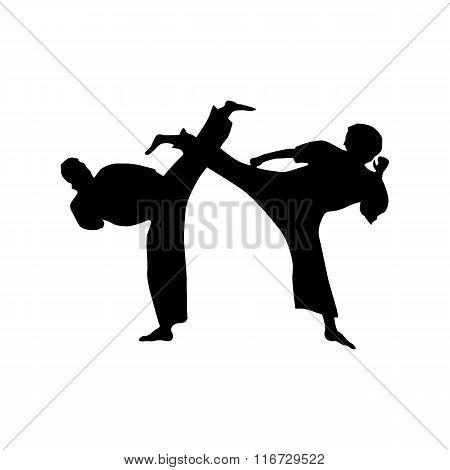 Karate black silhouette
