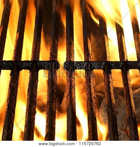 Empty Hot Charcoal Barbecue Grill With Bright Flame Isolated