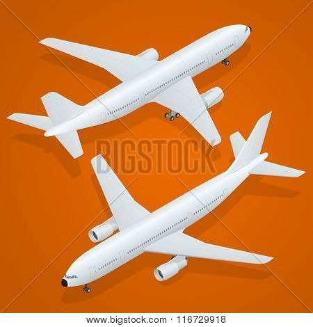 Airplane icon. Flat 3d isometric high quality transport - passenger plane .