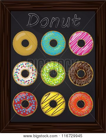 Ten Beautiful Colorful Donuts With Glaze