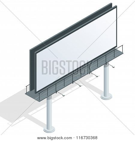 Billboard, advertise billboard, city light billboard. Flat 3d isometric vector illustration for info