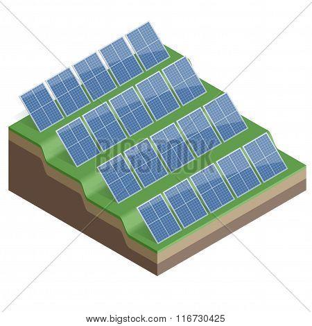 Solar Panels Isolated on White Background  Flat 3d vector isometric illustration