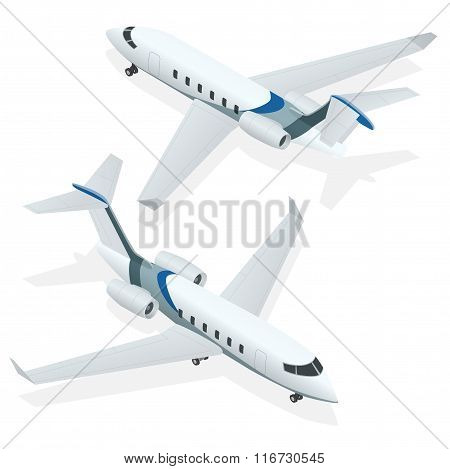 Business aircraft. Corporate jet. Airplane. Private jets. Flat 3d Isometric vector illustration for