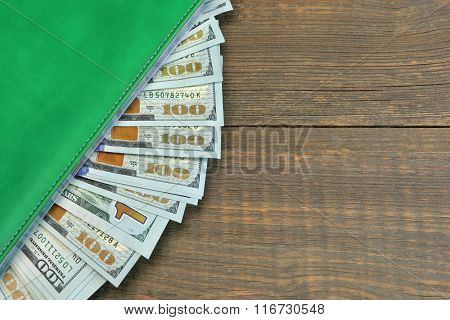 American One Hundred Dollar Bills In The  Notepad