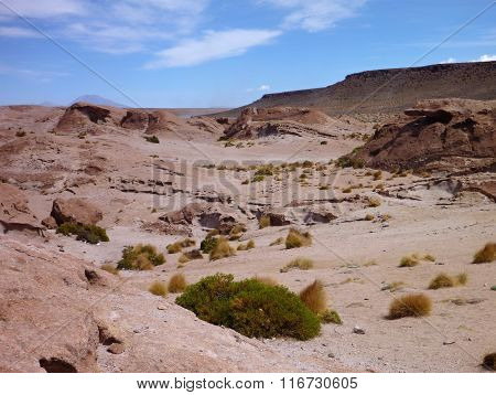 Altiplano Desert With Colorful Rock Formations