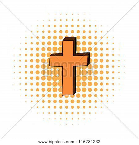 Christian cross comics icon