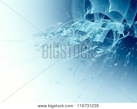 Abstract blue technology background design. Detailed computer graphics.