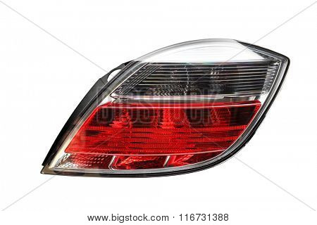 Close-up on an isolated generic rear light of a car on white background