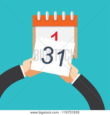 Flat background with hand and calendar.