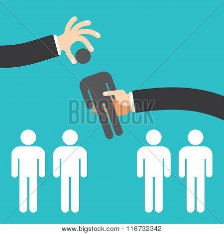 recruitment concept, man choosing worker