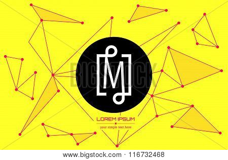 Abstract concept creative vector letter M. Colorful app logo icon element isolated on background. Ar