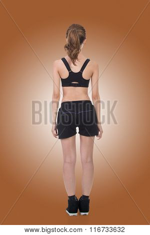 Rear view of Asian sport girl, full length portrait isolated on white background.