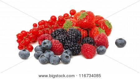 Stack Of Different Garden Berries (isolated)