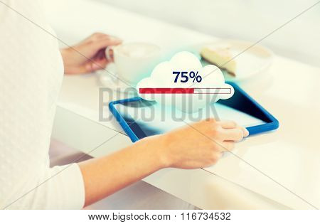 close up of woman with tablet pc cloud computing
