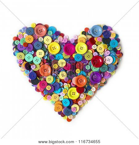 Heart from colorful heart isolated on a white background