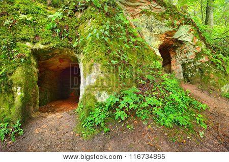 Caves In Ligatne, Latvia