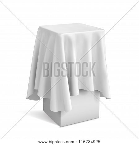 Presentation Pedestal Covered With A White Cloth