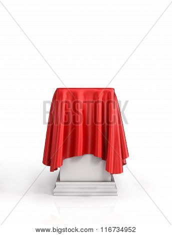 Presentation Pedestal Covered With A Red Silk Cloth On White Background.