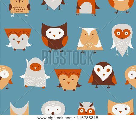 owls seamless pattern