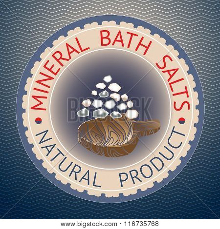 Badge template with text Mineral Bath Salts, Natural Product.