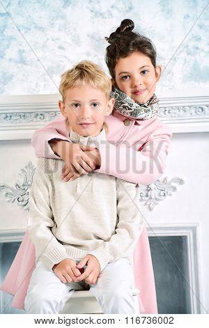 Beautiful fashion children. Vintage style. Retro.