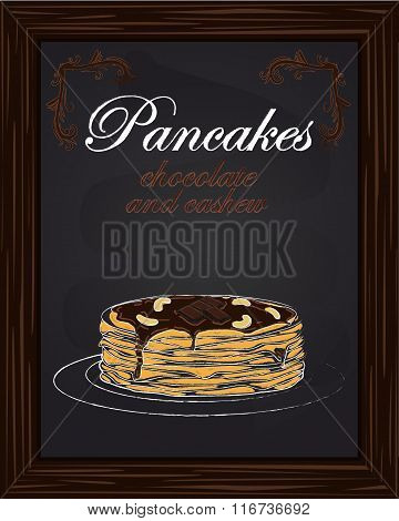 Pancakes With Chocolate And Cashew On The Plate