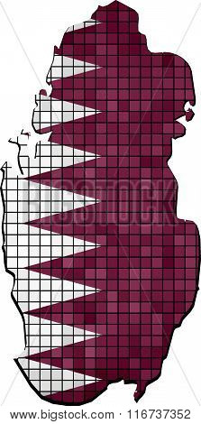 Qatar Map With Flag Inside.eps