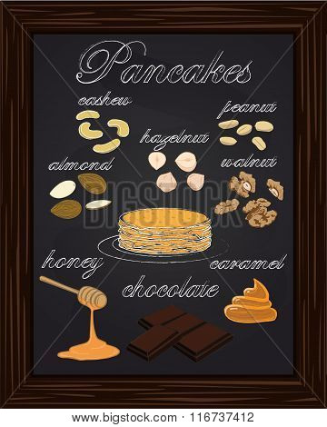 Pancake Menu With Walnuts, Almonds, Cashews, Peanuts, Hazelnuts, Honey, Caramel, , Chocolate,