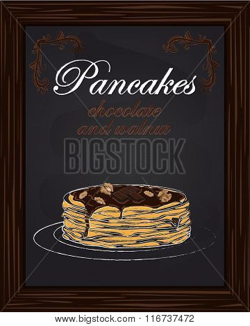 Pancakes With Chocolate And Walnut On The Plate