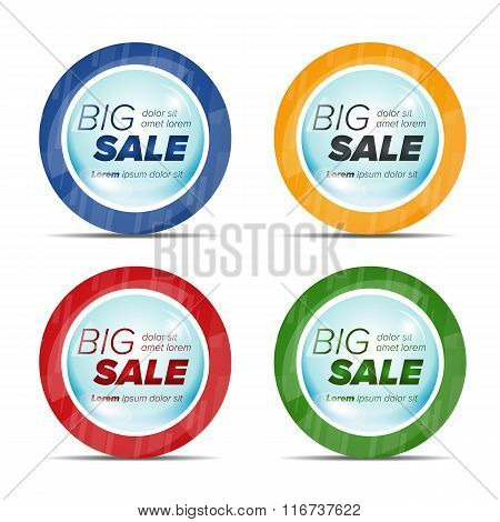 Big sale circle stickers in a bubble