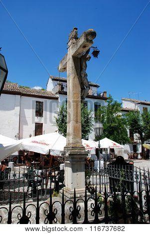 Crucifix in San Miguel Square, Granada.