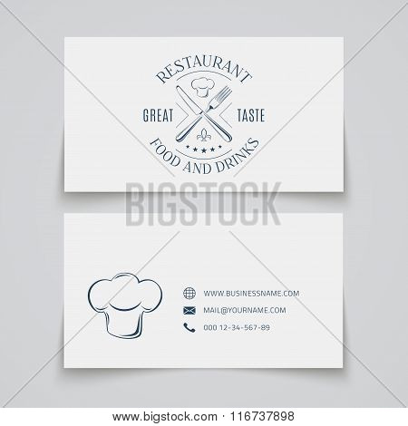 Business card template with logo for restaurant.