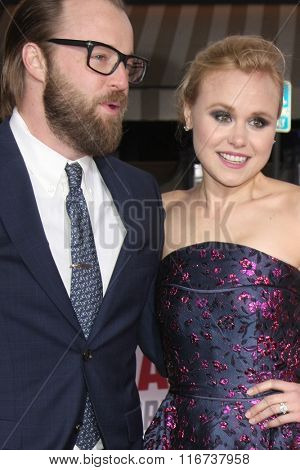 LOS ANGELES - FEB 1:  Joshua Leonard, Alison Pill at the Hail, Caesar World Premiere at the Village Theater on February 1, 2016 in Westwood, CA